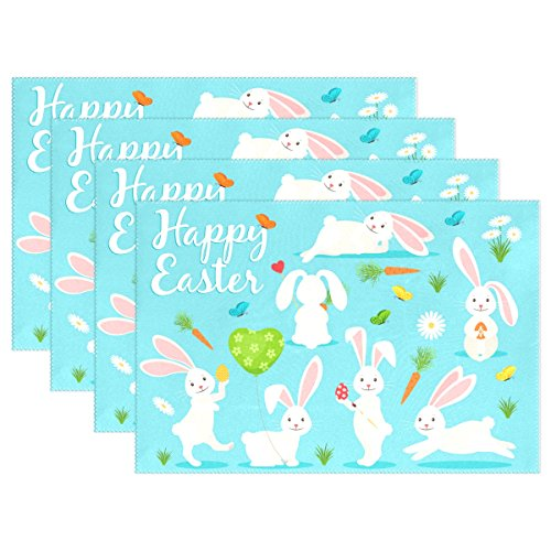 My Daily Bunny Rabbit Carrot Flower Happy Easter Placemats for Dining Table Set of 6 Heat Resistant Washable Polyester Kitchen Table Mats