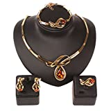 Fashion Women Wedding Party Gold Plated Crystal Gem Necklace Jewelry Set (Brown)