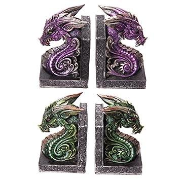 Dark Legends Tete De Dragon Serre Livres Violet Ou Vert