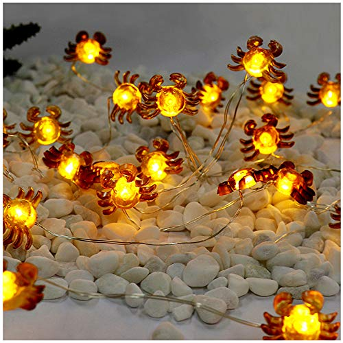 LED String Lights Crab Sea Beach Theme 10ft 30 LEDs Battery Operated Copper Wire Night Light Waterproof Indoor Bedroom Children Girls Room Wall Décor Party Decorations -
