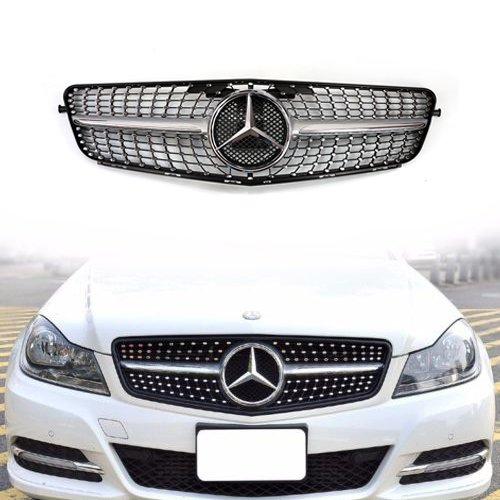 Vakabva Mercedes Benz Grill Diamond Silver Grille Front Bumper Grill for 2008-2013 Mercedes Benz C Class C200 C250 C300 C350 W204