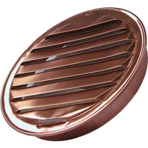 "6"" Round Louvered Copper Insert Vent with Screen"