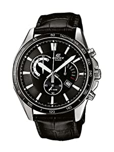 Casio EDIFICE - Reloj analógico de caballero de cuarzo con correa de piel negra (cronómetro) - sumergible a 100 metros