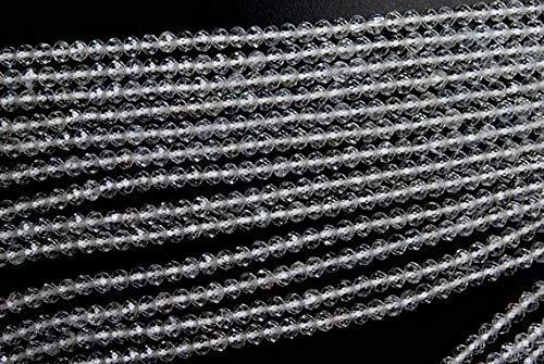 (GemAbyss Beads Gemstone 13 Inches Strand, AAA Natural White Topaz Faceted Rondelles, Size 4mm Code-MVG-2764)