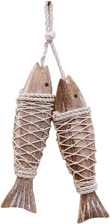 Amazon Com Wooden Fish Decor Hanging Wood Fish Decorations For Wall Rustic Nautical Fish Decor Beach Theme Home Decoration Fish Sculpture Home Decor For Bathroom Bedroom Lake House Decoration S Home Kitchen