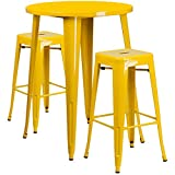 30'' Industrial Round Yellow Metal Indoor-Outdoor Restaurant Bar Table Set with 2 Square Seat Backless Stools