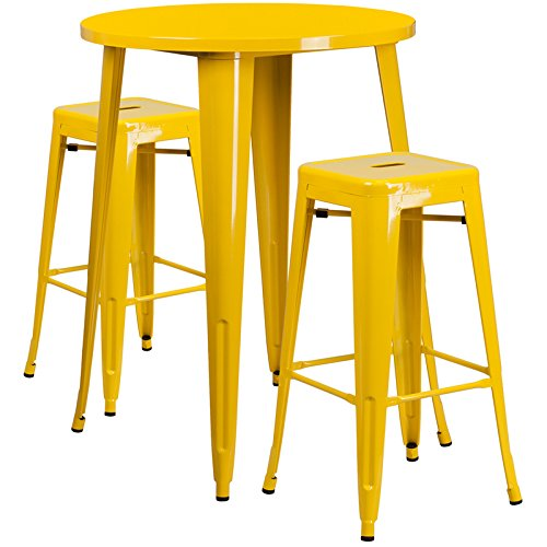 30'' Industrial Round Yellow Metal Indoor-Outdoor Restaurant Bar Table Set with 2 Square Seat Backless Stools by Belncik