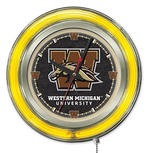 Holland Bar Stool Co. Western Michigan Broncos HBS Neon Yellow Battery Powered Wall Clock (15
