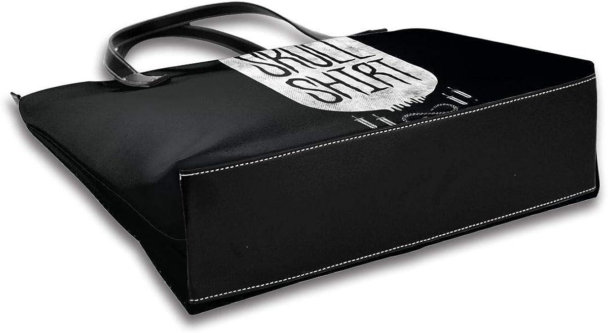 Vickcy Skull Shirt Handbag,Women/'s Made Of Fine Leather Shoulder Tote Bag Fashion Big Capacity Crossbody.