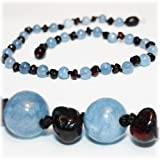 *The Art of CureTM *SAFETY KNOTTED* Cherry Amber & Aquamarine (Unisex) - Certified Baltic Amber Baby Teething Necklace Highest Quality Guaranteed- Anti Flammatory, Drooling & Teething Pain. Easy to Fastens with a Twist-in Screw Clasp Mothers Approved Remedies!
