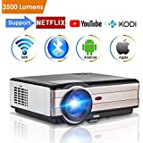 WiFi Wireless Video Projector Bluetooth LED LCD 3500 Lumen, Android 6.0 Projectors Outdoor HD 1080P with HDMI USB TV Speaker Multimetia Smart Beamer for iPhone Smartphone Home Theater Cinema Backyard