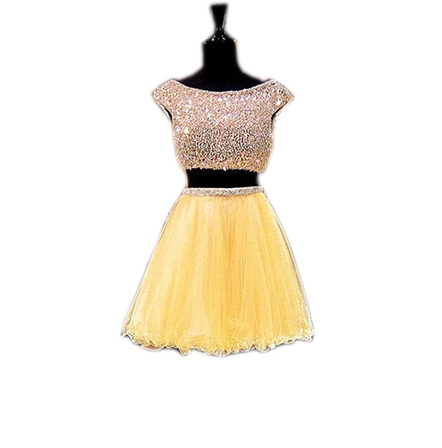 Ever-youth Women's Short Beaded Tulle Ruffle Two Piece Crop Top Homecoming Gown