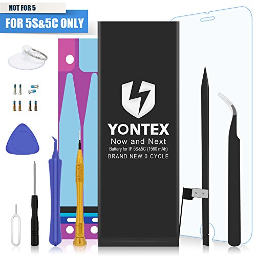 YONTEX Battery Model iP5S&5C - Brand New 0 Cycle - with Replacement Repair Tool Kits , Adhesive Strip , Instruction and Screen Protector [24-Month Warranty]
