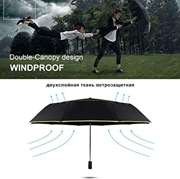 Unisex Clothing, Shoes & Accessories Big Rain Umbrella 3 Folding Fully Automatic Double Wind Resistant Travel 120CM