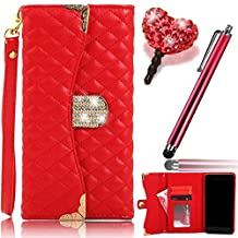 Vandot Samsung Galaxy Note 5 Wristlet Cellphone Case ,PU Leather Wallet Flip Folio Bling Diamond Handbag Case Cover with Credit Card holders & Crystal Magnet Closure+Love Heart Anti Dust Plug+Stylus Pen-Red
