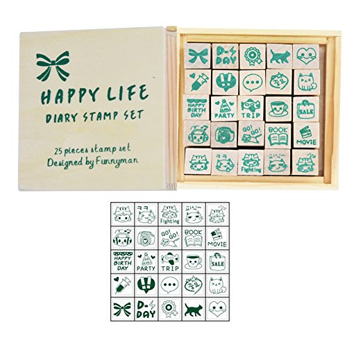 Wooden Rubber Stamps,Youkwer 25 Pcs Mini Cute DIY Diary Stamps Set with Wooden Box (happy life,set of 25)