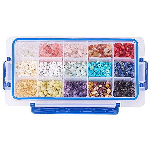 PandaHall Elite 15 Style Assorted Chips Stone Beads Crushed Chunked Crystal Pieces Irregular Shaped Loose Beads Value (Style Chip)