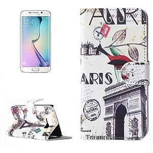 Bird and Triumphal Arch Pattern Magnetic Snap Leather Case Funda Flip Cover con Holder & & Wallet bolsillos internos para Samsung Galaxy S6 Edge