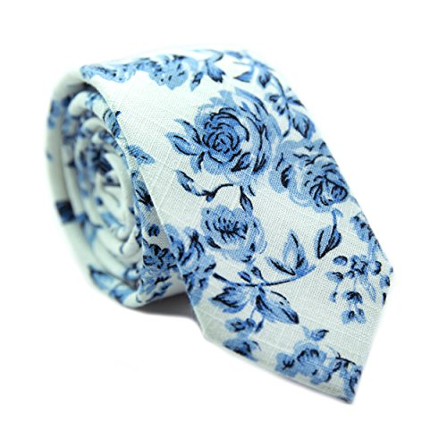 DAZI Men's Skinny Tie Floral Print Cotton Necktie, Great for Weddings, Groom, Groomsmen, Missions, Dances, Gifts. (French ()