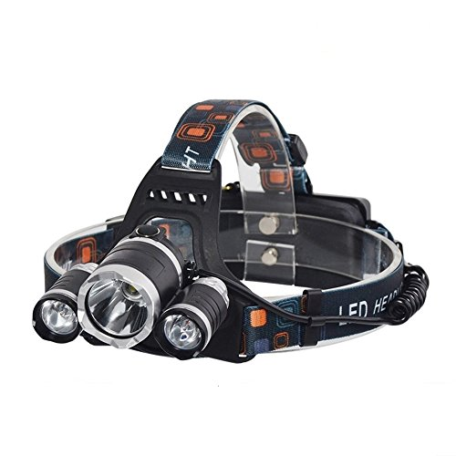 Canyon Nitehawk LED Rechargeable Headlamp for Biking, Hiking, Running (Includes Batteries, USB, Car, and 110V Recharger)