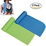 Lanticy Cooling Towel for Sports, 2 Pack Cooling Neck Towels Beach Cool Towel for Sports Workout Fitness Gym Yoga Golf Pilates Travel Camping Hiking & More 40x12inch