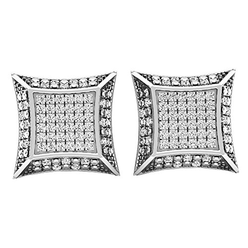 ion 0.30 Carat (ctw) Round Diamond Micro Pave Setting Kite Shape Stud Earrings 1/3 CT, Sterling Silver ()