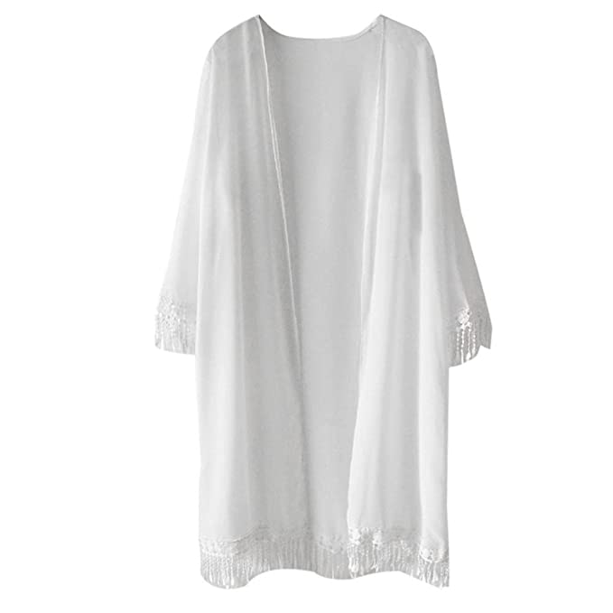 9840dbd811136 Clearance!!! Quistal Women Vintage Retro Boho Hippie Tassel Chiffon  Beachwear Cover Up Kimono Cardigan Tops (White, M): Amazon.co.uk: Clothing