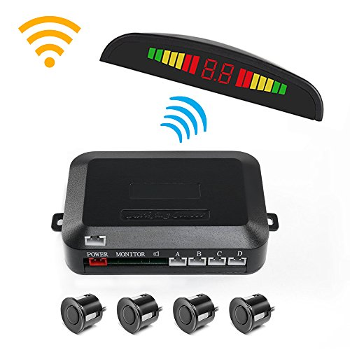 Wireless Car Reverse Backup Radar System, Wireless Parking Sensor Kit Car Vehicle Reversing Radar, 4 Sensors Alarm/Buzzer Reminder, Wireless Connection of LED Display and Host