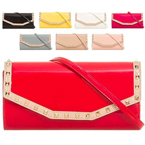 Envelope Studded Women's Clutch Bag Ladies Patent Purse Wallet Handbag KL875 Nude Faux Bridal wqAEt