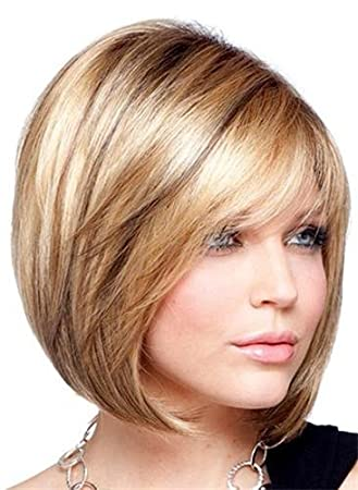 Amazon.com   BESTUNG Short Straight Brown Blonde Mixed Color Bob Wigs with  Side Bangs for White Womens Fashion Soft Touch Synthetic Wigs Natural  Looking   ... b8f46e5285