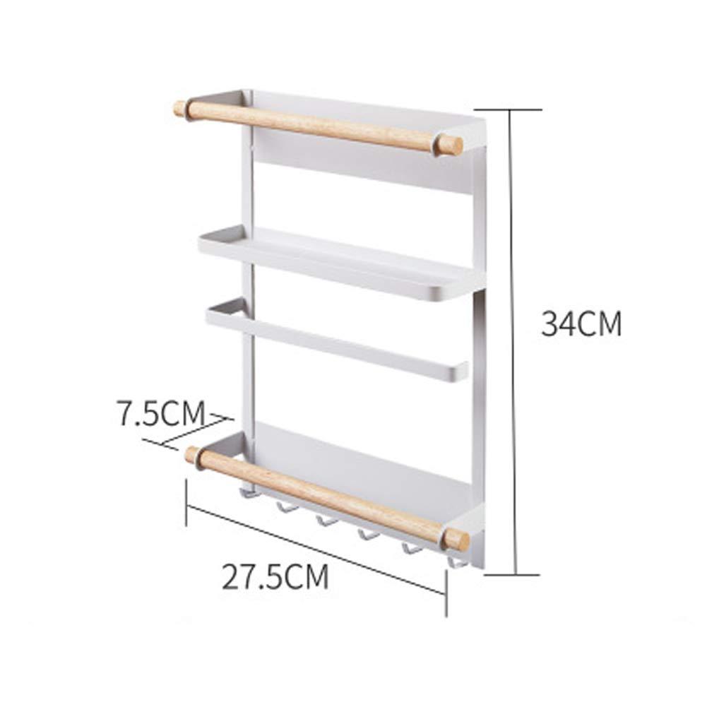 WWWT Magnetic Kitchen Storage Rack, Refrigerator Rack, Paper Towel Wall Tableware Storage, Sundries Iron Storage Hook-White-M