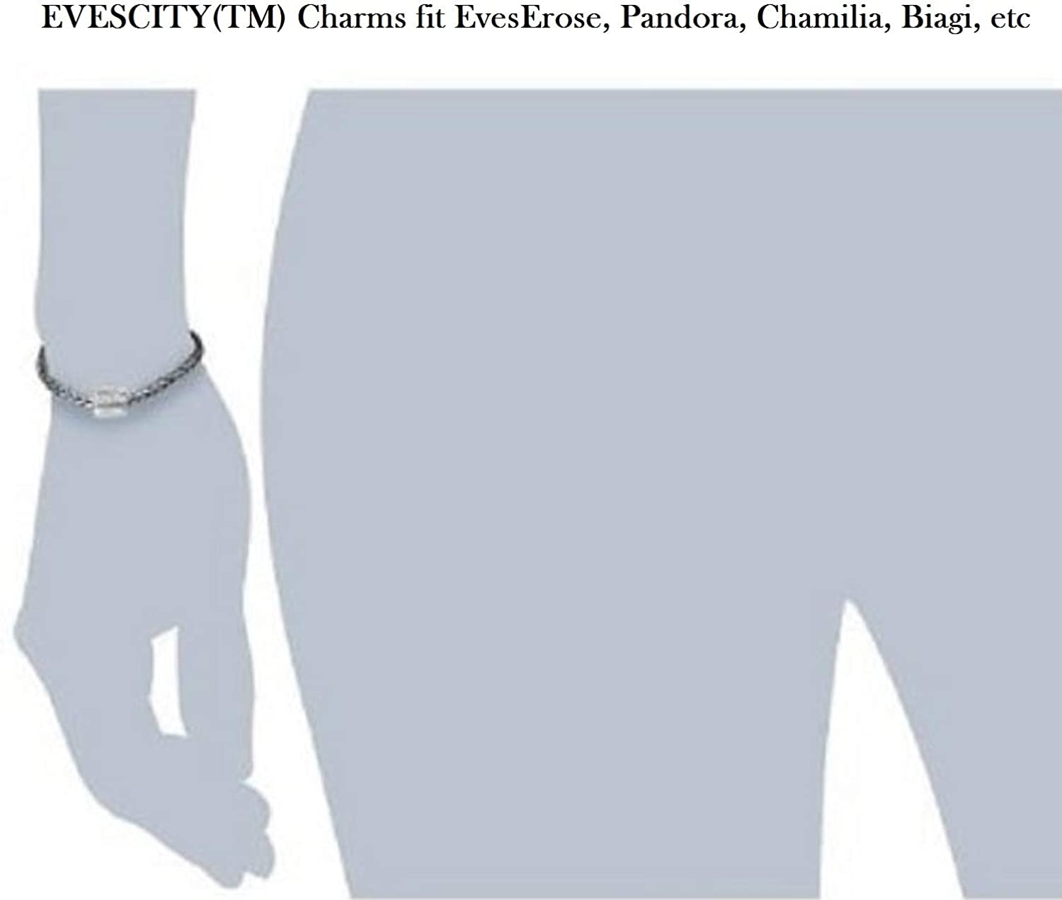 EVESCITY 925 Sterling Silver Lucky Family Dad Mom & Son Daughter Beads for Charm Bracelets for Charm Bracelets Like Pandora & Others ♥ Best Jewelry Gifts for Fathers Day ♥