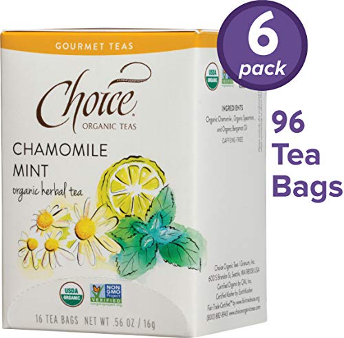 Choice Organic Teas Gourmet Herbal Tea, 6 Boxes of 16 (96 Tea Bags), Chamomile Mint, Caffeine Free