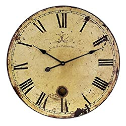 23 Trendy French Café Weathered Cream-Colored Large Wall Clock