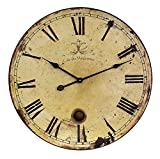 23'' Trendy French Café Weathered Cream-Colored Large Wall Clock