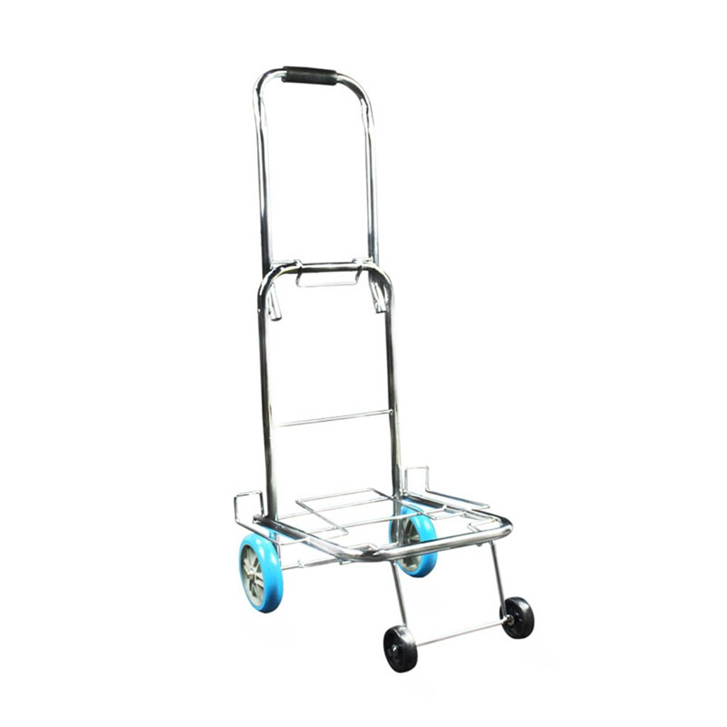 Jian E Folding Cart Portable Luggage Cart Hand Truck Hot Rolled Steel PU Wheel Trolley Cart Shopping Cart for The Elderly Load 25 Kg