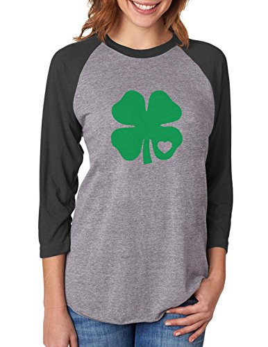 Irish Green Clover Heart St. Patricks Day 3/4 Women Sleeve Baseball Jersey Shirt Large Black/Gray