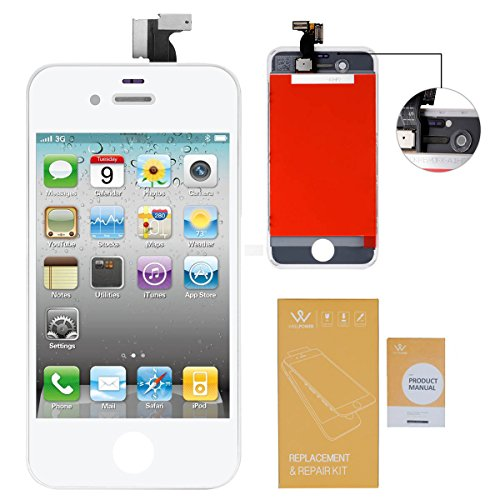 WEELPOWER LCD Touch Screen Digitizer Glass Replacement Assembly for iPhone 4 (CDMA version ONLY) with Repair Tool (White)