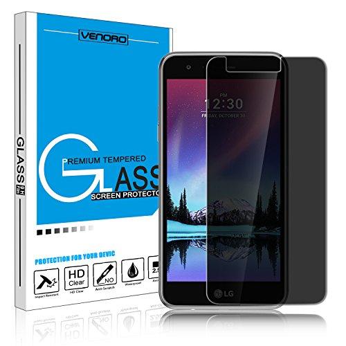 LG K20 Plus Screen Protector, Venoro 9H Hardness Anti Glare Privacy Anti-Spy Tempered Glass Screen Protector for LG Harmony/LG K10 2017 / LG K20 V/LG V5 / LG VS501 / Grace LTE (1 Pack) ()