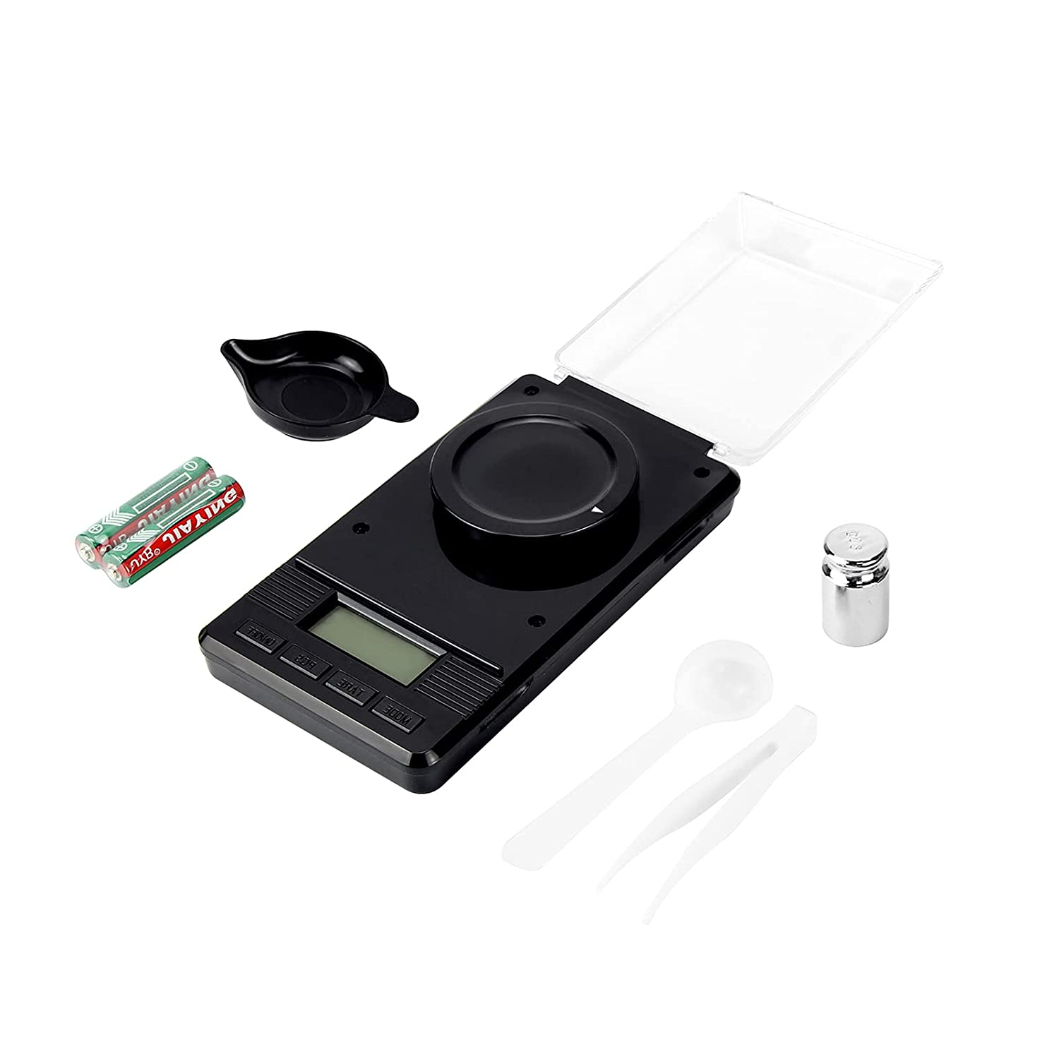 Digital Milligram Pocket Scale, Electronic Reloading, Jewelry and Gems Weigh Scales 50g x 0.001g with Calibration Weight Weighing Pan Powder Scoop Tweezers LCD Display for Kitchen Food