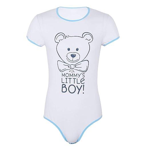 inhzoy Romper Barboteuse Combinaison à Manche Courte T-Shirt Body Dors Bien Bébé  Adulte Snap Entrejambe Combinaison en Coton Outfit Homme Pyjama Costume ... 9b9709c1a9c