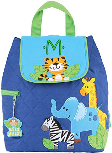 Monogrammed Stephen Joseph Boy Zoo Quilted Backpack, with Green Embroidered Initial M ()