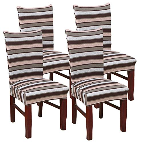 - MeMoreCool Coffee Stripe Soft Spandex Fit Stretch Short Dining Room Chair Covers, Banquet Chair Seat Protector Slipcover for Dining Room Home Party Hotel Wedding Ceremony 4PC Set
