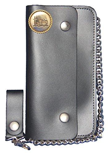 Custom Cowboy Church, Praying Cowboy Long Black Chain Wallet. MADE IN USA by Genuine Texas Brand