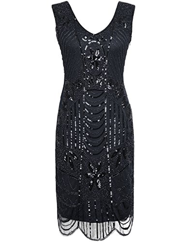 ro 20s Beaded Inspired Gatsby Flapper Plus Size Dress XXL Black (Beaded Dresses Plus Size)
