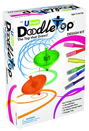 (U-Create Doodletop Deluxe Kit with 1 Design Tray, Drawing Games, Marker Pens, Creative Art Spiral Spinning Top for Kids Age 5 & Above)