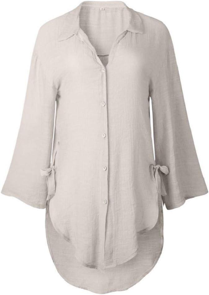 Damen V-Ausschnitt Bluse Tunika Hemdshirt Longshirt Top T Shirt Sommer Freizeit