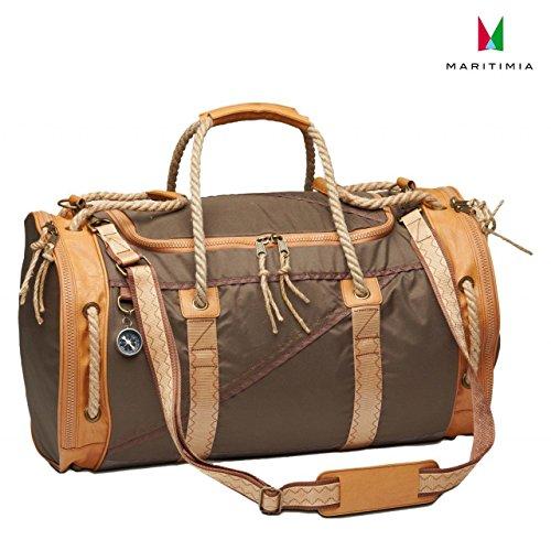 Sea Dog Reisetasche mit Lederbesatz in braun/beige
