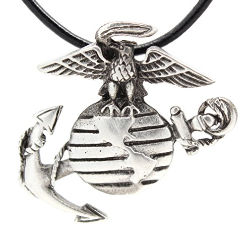 Trilogy Jewelry Pewter USMC Marine Corps Insignia Semper Fi Pendant on Leather Necklace