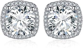 JewelryPalace Coussin 5ct Zircone Cubique Halo Clous Boucles d'oreilles en Argent 925